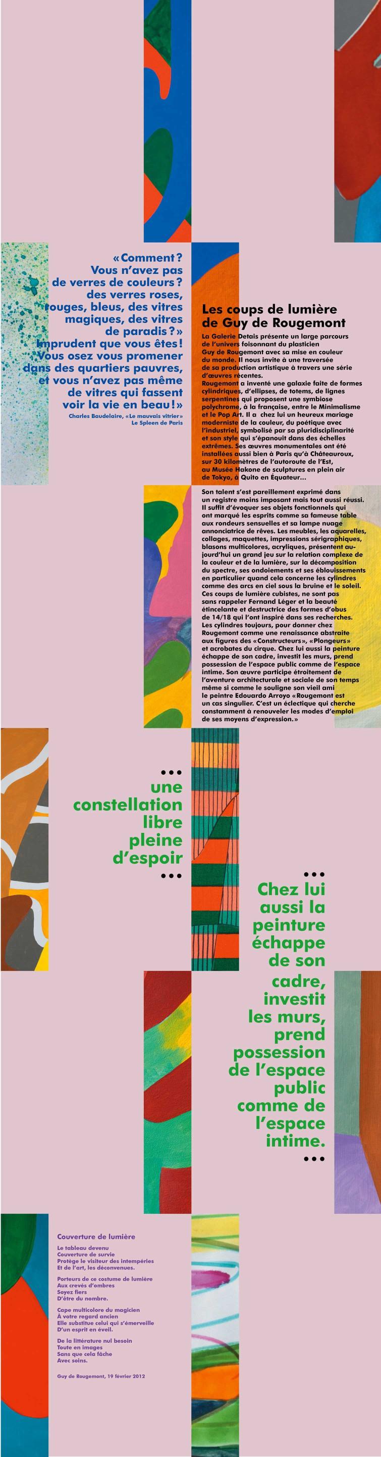 Uli Meisenheimer-Concept et design graphique d'une affiche pour l'exposition  Guy de Rougemont, Galerie Detais, Paris
