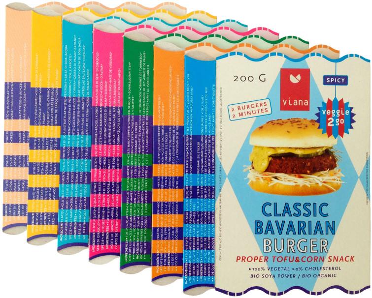 Uli Meisenheimer-Identité visuelle et packaging de trois marques du fabricant de produits biologiques Tofutown: Viana, Veggie Life et Soyatoo!